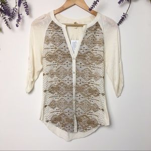 Tiny Silver Embroidered Cream Button Down Blouse